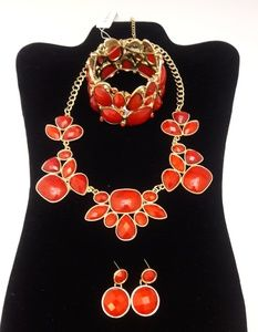 Red/Gold Necklace, Bracelet & Earrings Jewelry Set